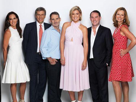Shark Tank host Sarah Harris, centre, with the Sharks, from left, Janine Allis, Andrew Banks, Steve Baxter, John McGrath and Naomi Simson.