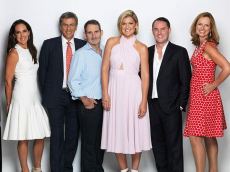 Shark Tank host Sarah Harris, centre, with the Sharks, from left, Janine Allis, Andrew Banks, Steve Baxter, John McGrath and Naomi Simson.