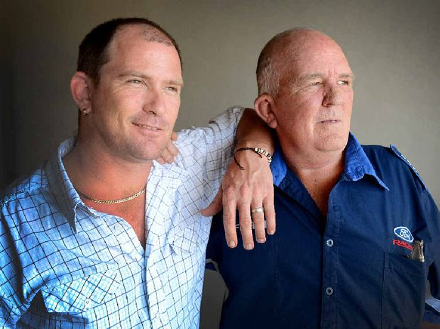 THANKS DAD: Tim Matthews with his dad Mervyn, who is helping him recover from a deadly ice addiction.