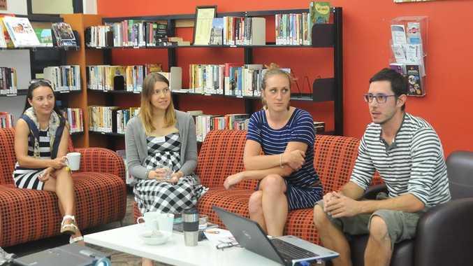 Natalija Daboul, Malwina Patton, Maria Daix and Bertrand Moncenax at the Gladstone Language Cafe's November get together.