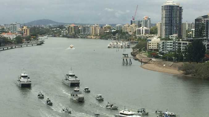 The QPS flotilla was mobilised after an accountant was caught with a cigarette containing marijuana.