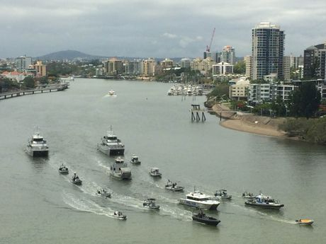A QPS Floatilla makes its way along the Brisbane River in a show-of-force as part of the G20 operations.