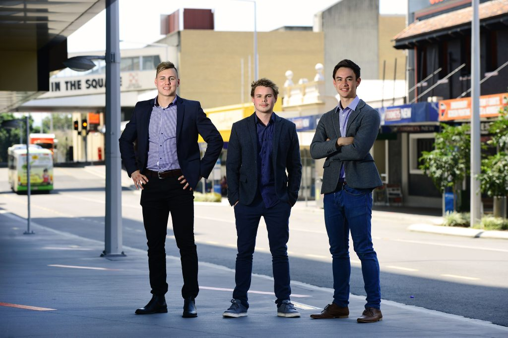 The 'Bell Street Boys' from left, Nicholas Roberts, Connor Fairclough, and Ryan Velasques have gained online popularity after making videos about Ipswich.