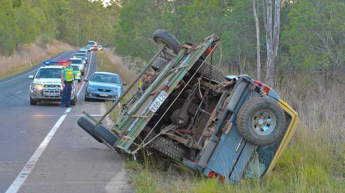 A landrover towing a trailer came dangerously close to hitting a culvert on the Dawson Highway, 5km east of Calliope. Photo Mike Richards / The Observer