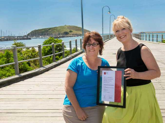 ACCOLADE: Project manager for the Jetty4Shores, Sharon Smith, and Mayor Denise Knight. Photo: Trevor Veale