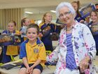 Gearing up to celebrate Parke State School's Centenary on Saturday is the youngest student Bill Gunn with the oldest surviving student Mildred Goldsmith.