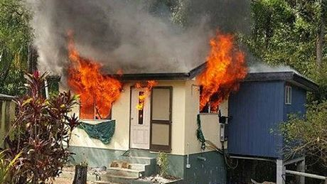 UP IN FLAMES: Last month's fire engulfed Vicki Erickson's granny flat so quickly nothing could be done.