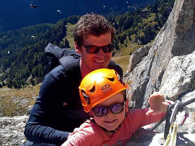 ROCK-CLIMBING MARVEL: Luke Goldston with six-year-old daughter Freya who suffers from type one diabetes.