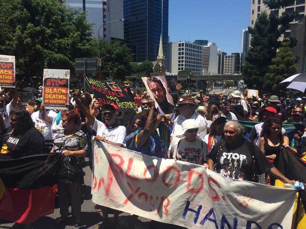 Aboriginal rights protest Brisbane.