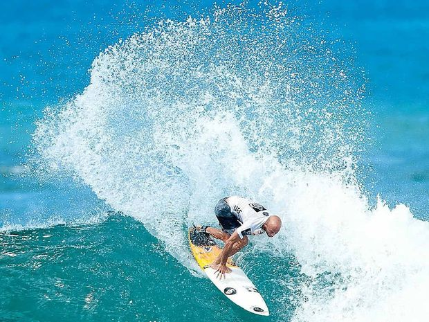 CREST OF A WAVE: Nathan Hedge wins his Round 2 heat at the Reef Hawaiian Pro in Hawaii this week, posted an excellent 8.37 for a 15.47 heat total out of 20.