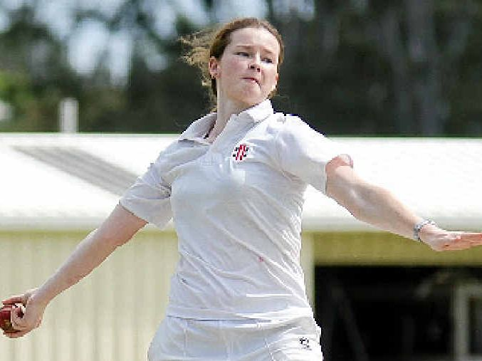 ON FIRE: Alice Cartwright in action for Harlequins in Gympie reserve grade cricket.