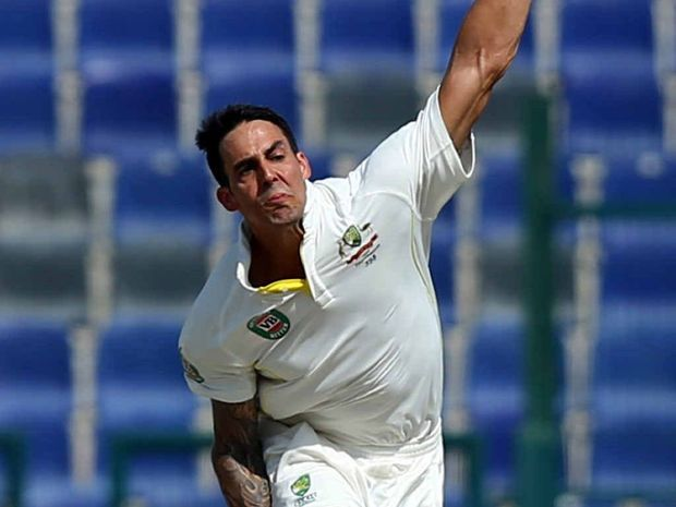 SPEARHEAD: Australian bowler Mitchell Johnson steams in against Pakistan during the second Test in Abu Dhabi earlier this month.