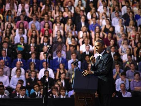 US President Barack Obama addresses a crowd at the University of Queensland (UQ) in Brisbane, Saturday, Nov. 15, 2014. President Obama is attending the G20 world leaders summit taking place in Brisbane November 15-16.