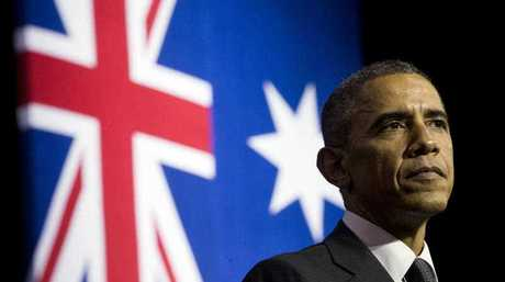 U.S. President Barack Obama pauses during his speech at the University of Queensland, Saturday, Nov. 15, 2014 in Brisbane, Australia.