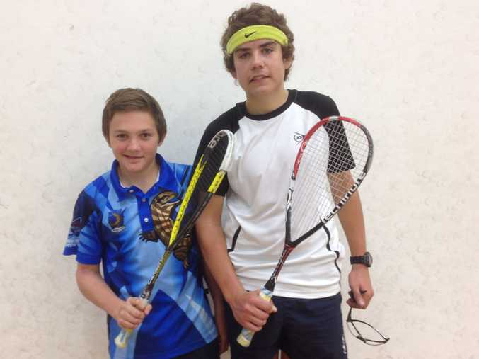 Coffs Coast entrants Jacob Ford (left) and Brad Harrison get ready to rumble at The Queensland Squash Open.