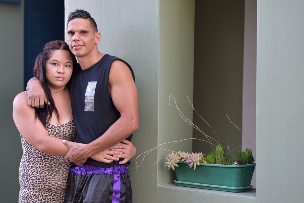 Image for sale: Boxer Jeremy Dodds, with his partner Tina Kake. Photo: Brett Wortman / Sunshine Coast Daily