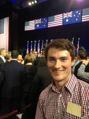 UQ student Sam Moyle, from Toowoomba, gets a selfie with United States President Barack Obama in the background after a speech at University of Queensland ahead of the G20 Leaders' Summit. Photo: contributed.