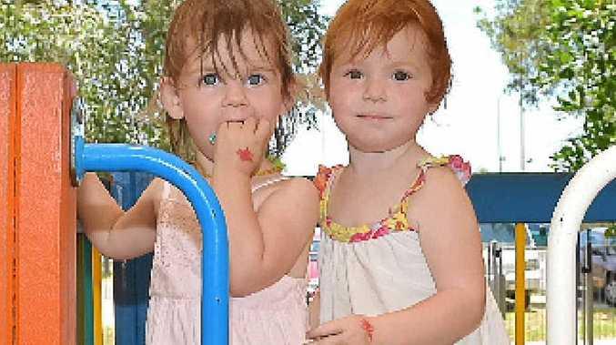 FUN IN SUN: Twins Willow and Zoe Speekenbrink.