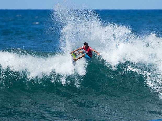 FINDING FORM: Julian Wilson of the Sunshine Coast, wins his Round 3 heat at the Reef Hawaiian Pro on Friday with excellent 8.57 and 9.20 scores (out of a possible 10.00). Wilson advances into Round 4.