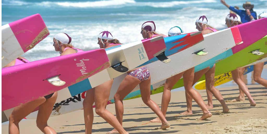 READY, SET, GO: Start of open girls' board final at the Ocean Assault surf lifesaving series at Alexandra Headland yesterday.