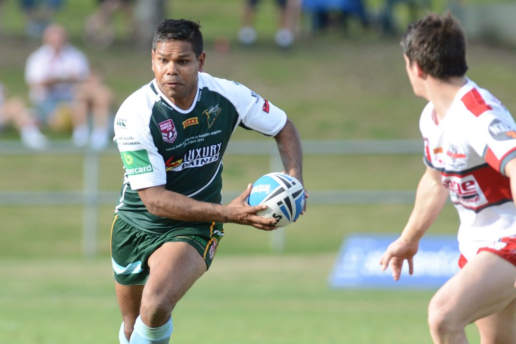 Ipswich Jets versus Redcliffe Dolphins at North Ipswich. Jets #4 Brendon Marshall.
