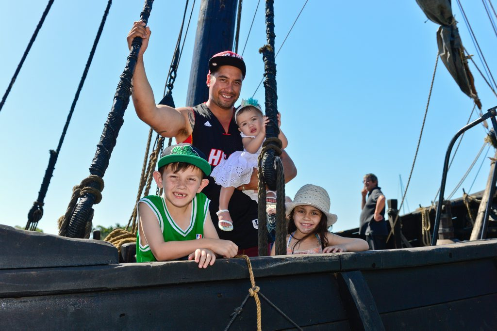 Kayden Jarvis, 7, Tyrin Howes, Jordyn Howes, 1, and Maddison Jarvis, 6, enjoy Notorious at O'Connell Wharf on Saturday.