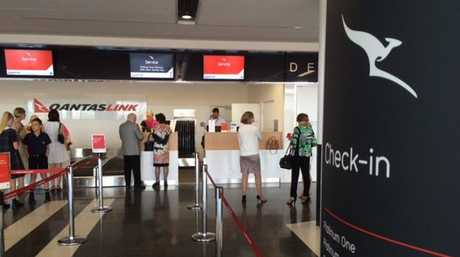 Checking in at the new Wellcamp Airport.