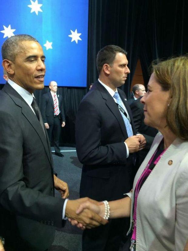 Nanango MP Deb Frecklington met United States President Barack Obama during the G20 World Leaders Summit.