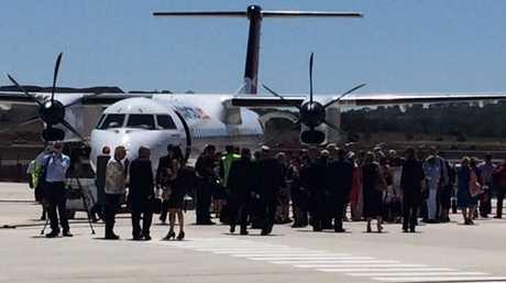 Passengers boarding the historic flight. Photo Bev Lacey