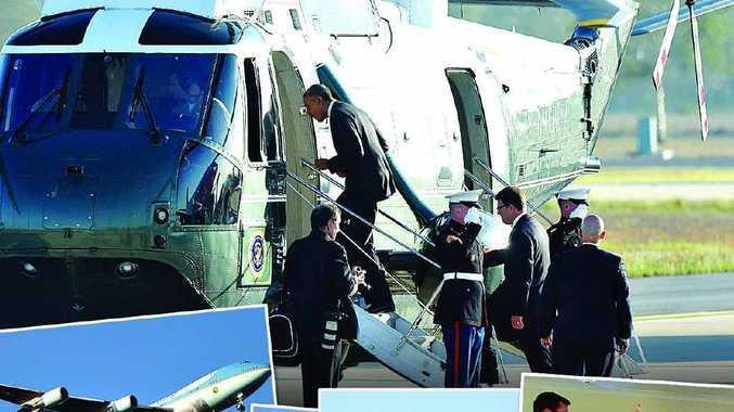 AUSPICIOUS ARRIVAL: (main) US President Barack Obama boards Marine One to travel to Brisbane, after arriving at RAAF Base Amberley.