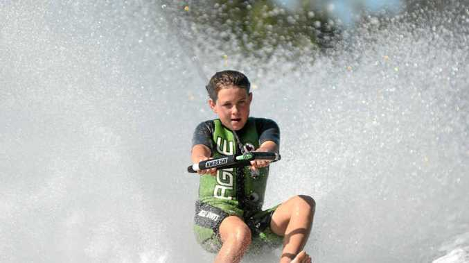 NO SKIS: Liam Press, 15, took to the water for Gladstone's first barefoot waterskiing tournament in a decade over the weekend.