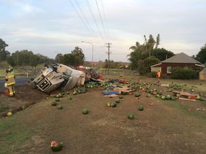 Watermelons thrown across Goodwood Rd as truck rolls