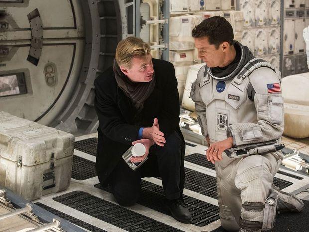 Director Christopher Nolan on set filming Interstellar.