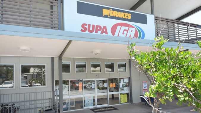 The IGA supermarket at Emu Park has its doors shut. Photo Austin King / The Morning Bulletin