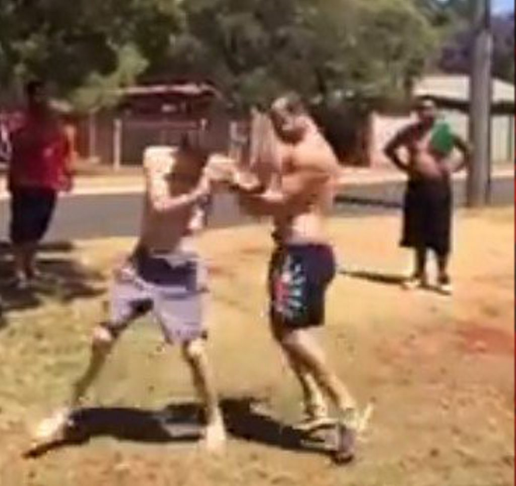 A street fight erupts in Festival St, Wilsonton Heights. Photo Contributed