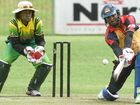 EYE ON THE BALL: Vanuatu's Trevor Langa at wicket with Philippines batsman Machanda Biddappah during the ICC East Asia-Pacific Men's Trophy match at Lismore yesterday.