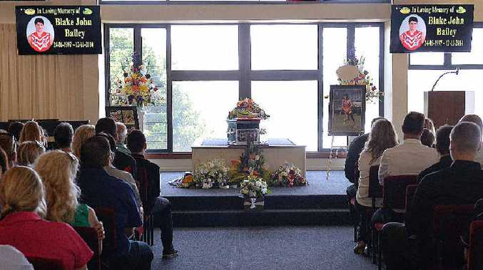 Mourners paid tribute to Blake Bailey during a moving ceremony at the Newhaven Funerals' chapel yesterday.