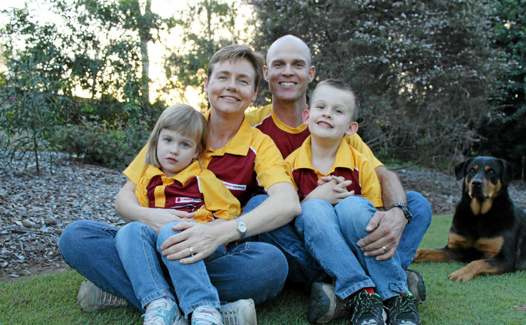 ON A MISSION: Tania and Dan Englund with their children Ava and Wyatt. Dan has dedicated his life to raising awareness about strokes.