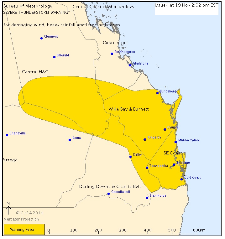 A storm warning has been issued for parts of Queensland.