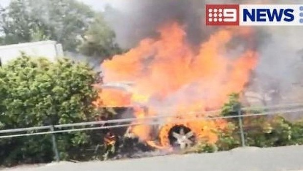 A truck burns on the M1 near Oxenford. Photo: Nine News