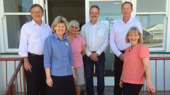 YMCA GAYNDAH: Australia's smallest independent YMCA may become a branch of YMCA Bundaberg. YMCA Australia CEO Ron Mell (left) and board member Peter Malone (centre) discussed the move with YMCA Gayndah president Dael Giddins (second left) and board members Lyn Connolly, Phil Duncan and Jan Hoyle (right). Photo Contributed