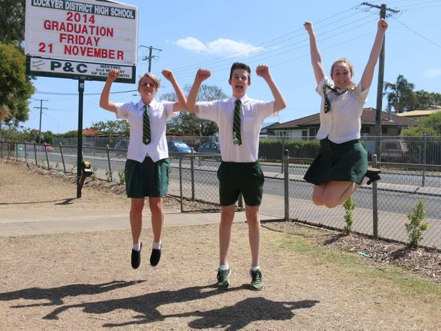 Year 12 students Emma Poole, Mitchell Jones and Rachel Chalmers celebrate the last week of high school and scholarships to university.