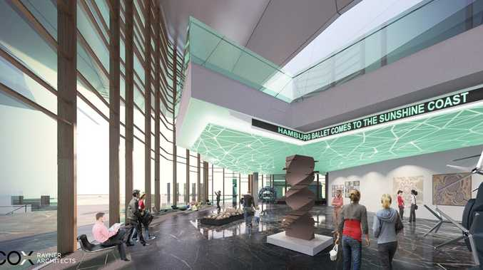 Artist impression of the proposed Sunshine Coast Arts, Convention, Exhibition and Entertainment Centre - ACE Theatre Foyer
