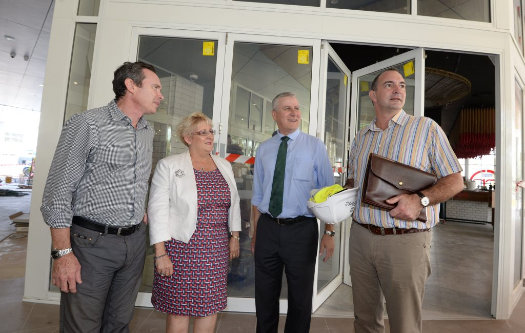L-R Andrew Beaumont, Michelle Landry, Michale McCormack MP, and Grant Cassidy take a tour around the Empire as it nears completion in Rockhampton. Photo: Chris Ison / The Morning Bulletin
