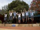 SCHOOL S OUT: Celebrating their last day of school are Harristown State High School students (from left) Emily Chitida, Georgia Abbott, Rhys Lowe, Claudia Griffiths, Katrina Hirning, Tristian Hope and Braydon Andrews, Friday, November 21, 2014. Photo Kevin Farmer / The Chronicle