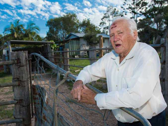 DANGER: Eric Bennett of Woolgoolga at the paddock where he was attacked by a roo. Photo: Trevor Veale