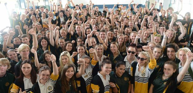 SCHOOL'S OUT: The James Nash State High School Class of '14 celebrates their last ever day of school yesterday before getting ready to head to Schoolies Week today.