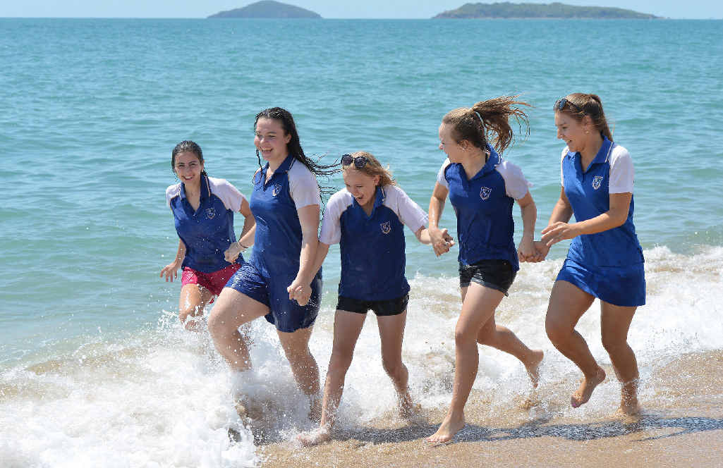 SCHOOLIES SPLASH: Mackay North State High School Year 12 graduates (from left) Gabby Bristow, Asia Rodgers, Stephanie McPhee, Kaitlyn Sartor and Taylor Collett celebrate their last day at Harbour Beach.