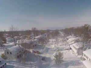 Drone footage shows New York snow storm