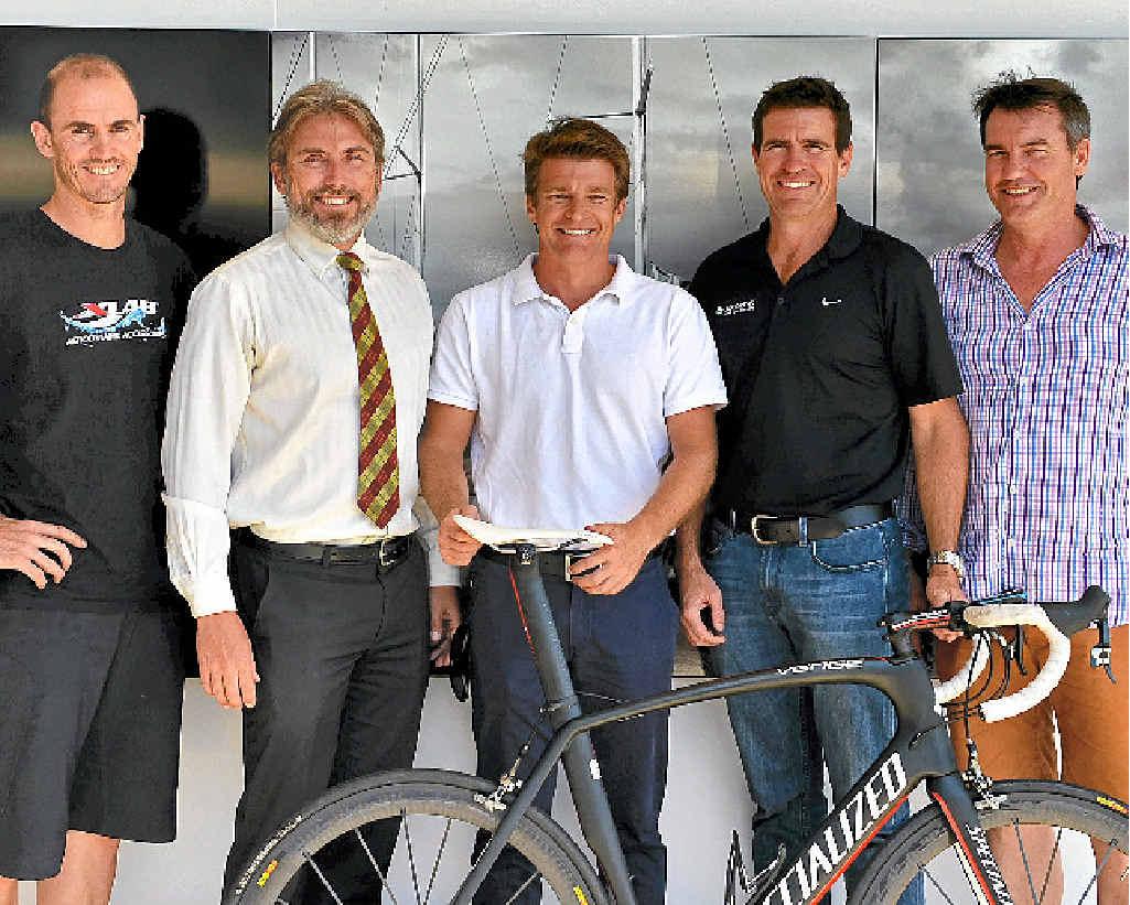 TEAM EFFORT: Riders preparing for the Race Across America (from left) John Carey, Leon Harris, John Eastham, Ray Shadforth and Michael Shadforth.